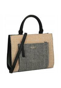 Nobo - Klasyczna torebka damska z plecionką NOBO czarna 1310. Kolor: czarny. Materiał: skórzane. Styl: klasyczny. Rodzaj torebki: do ręki