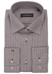 Brązowa koszula Lancerto klasyczna, w kratkę