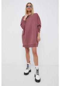 only - Only - Sukienka bawełniana. Kolor: różowy. Materiał: bawełna. Długość rękawa: długi rękaw. Wzór: gładki