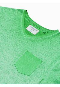 Ombre Clothing - T-shirt męski bawełniany S1388 - zielony - XXL. Kolor: zielony. Materiał: bawełna