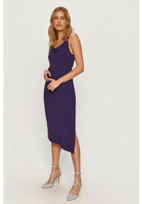 Fioletowa sukienka Armani Exchange asymetryczna, na ramiączkach, midi