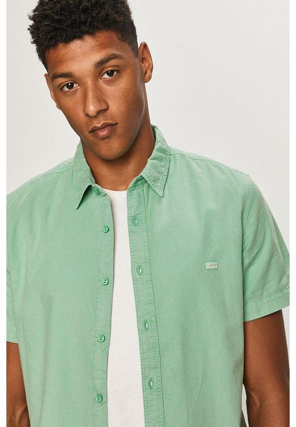 Miętowa koszula Levi's® biznesowa, z klasycznym kołnierzykiem, w kolorowe wzory, krótka