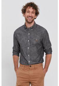 Polo Ralph Lauren - Koszula bawełniana. Typ kołnierza: polo. Kolor: szary. Materiał: bawełna. Długość rękawa: długi rękaw. Długość: długie. Wzór: gładki