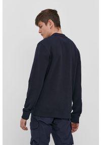Niebieska bluza nierozpinana Napapijri casualowa, bez kaptura, z nadrukiem