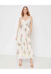 JENESEQUA - Jedwabna sukienka MARSEILLE CREAM. Kolor: biały. Materiał: jedwab. Długość rękawa: na ramiączkach. Wzór: kwiaty, nadruk. Sezon: lato, wiosna. Długość: maxi