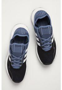 Niebieskie sneakersy adidas Originals na sznurówki, do biegania, z okrągłym noskiem, z cholewką