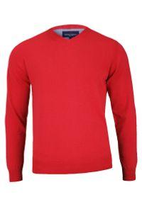 Czerwony sweter Adriano Guinari z dekoltem w serek, elegancki, do pracy