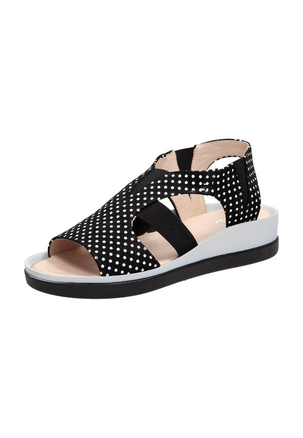 Czarne sandały Tyche w grochy, klasyczne
