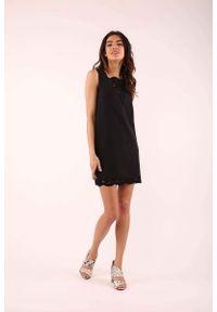 Czarna sukienka wizytowa Nommo bez rękawów, mini