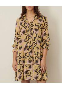 Marella - MARELLA - Wzorzysta sukienka Hateley. Kolor: żółty. Materiał: wiskoza. Długość rękawa: długi rękaw. Wzór: kwiaty, nadruk. Typ sukienki: rozkloszowane. Długość: mini