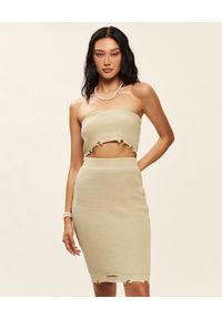 SER.O.YA - Beżowa bawełniana sukienka mini Grace. Kolor: beżowy. Materiał: bawełna. Długość: mini