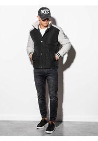 Ombre Clothing - Kurtka męska wiosenna C448 - czarna - XL. Typ kołnierza: kołnierzyk stójkowy. Kolor: czarny. Materiał: poliester. Sezon: wiosna