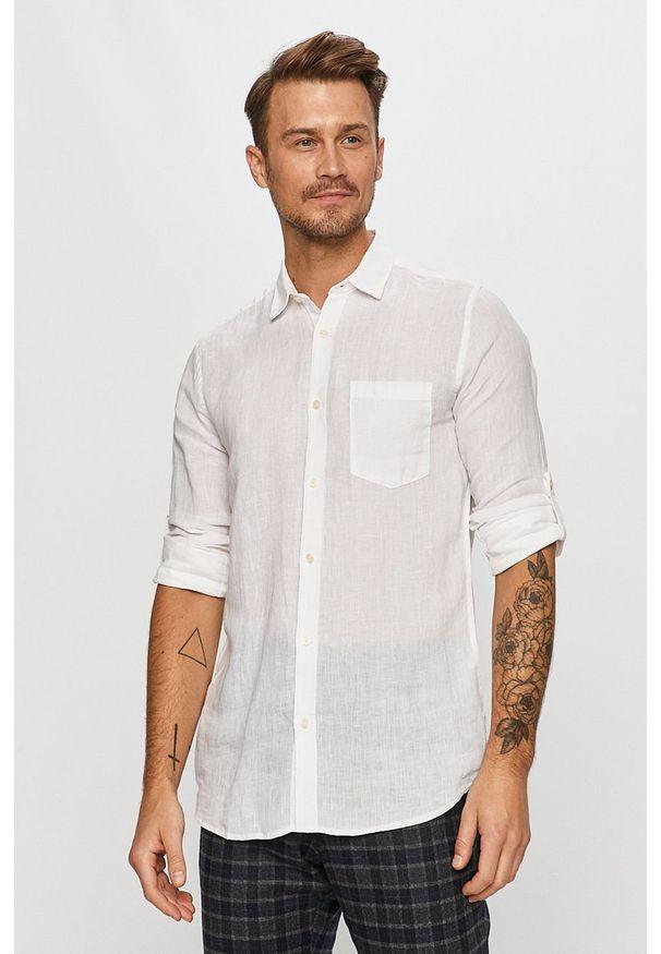Biała koszula Only & Sons długa, z klasycznym kołnierzykiem, casualowa, na co dzień