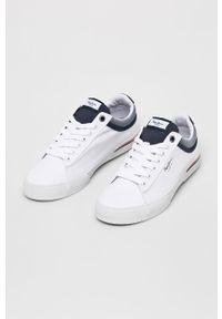 Białe niskie trampki Pepe Jeans z cholewką, na sznurówki, z okrągłym noskiem