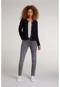 Rozpinany sweter z okrągłym dekoltem Oui. Kolor: czarny. Materiał: dzianina, bawełna, akryl. Długość rękawa: długi rękaw. Długość: długie