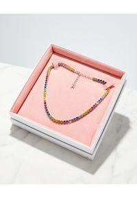 AMINA MUADDI - Kolorowy naszyjnik z kryształami. Materiał: srebrne. Kolor: czerwony. Wzór: kolorowy. Kamień szlachetny: kryształ #3