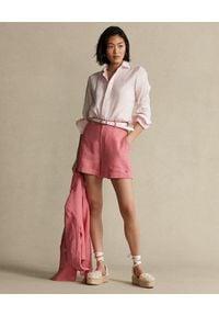 Ralph Lauren - RALPH LAUREN - Lniana koszula Relaxed Fit. Typ kołnierza: polo. Kolor: wielokolorowy, fioletowy, różowy. Materiał: len. Długość rękawa: długi rękaw. Długość: długie. Styl: klasyczny