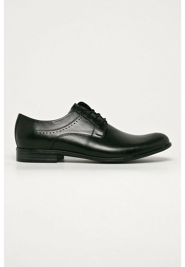 Wojas - Półbuty skórzane. Nosek buta: okrągły. Zapięcie: sznurówki. Kolor: czarny. Materiał: skóra