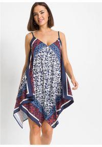 Niebieska sukienka bonprix z nadrukiem, asymetryczna