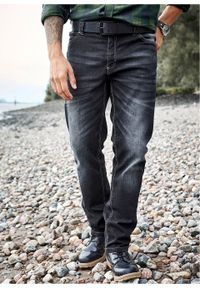 Dżinsy ze stretchem Regular Fit Straight bonprix ciemnoniebieski denim. Kolor: niebieski