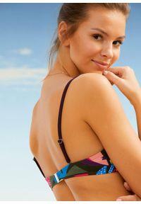 Biustonosz bikini na fiszbinach bonprix ciemnozielony w roślinny wzór. Kolor: zielony