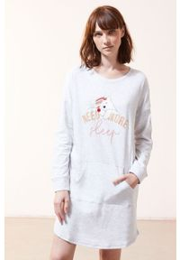 Szara piżama Etam długa, z nadrukiem