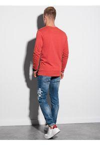 Ombre Clothing - Longsleeve męski bez nadruku L131 - czerwony - XXL. Kolor: czerwony. Materiał: bawełna, dresówka. Długość rękawa: długi rękaw. Styl: klasyczny