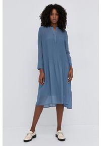 Samsoe & Samsoe - Samsoe Samsoe - Sukienka. Okazja: na co dzień. Kolor: fioletowy. Materiał: włókno, tkanina, materiał. Długość rękawa: długi rękaw. Wzór: gładki. Typ sukienki: proste. Styl: casual