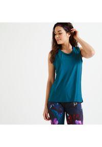 DOMYOS - Koszulka fitness damska Domyos bez rękawów. Materiał: poliester, materiał, elastan. Długość rękawa: bez rękawów. Sport: fitness