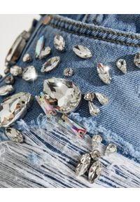 Pinko - PINKO - Jeansy z biżuteryjną aplikacją Maddie. Stan: podwyższony. Kolor: niebieski. Wzór: aplikacja. Styl: elegancki, glamour