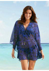 Niebieska tunika bonprix na plażę, w kwiaty
