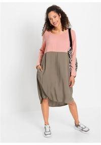 Sukienka oversize bonprix jasny koralowy - jasnooliwkowy. Kolor: pomarańczowy. Typ sukienki: oversize
