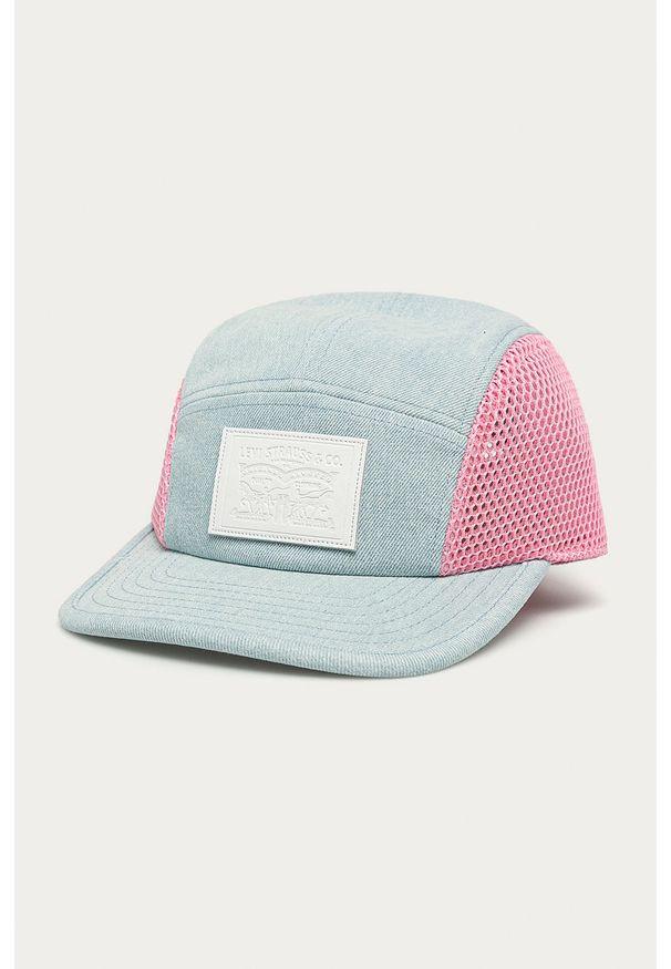 Niebieska czapka z daszkiem Levi's® biznesowa, w kolorowe wzory
