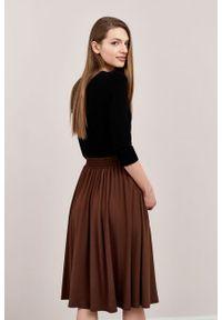 Marie Zélie - Spódnica Letycja czekoladowa. Kolor: brązowy. Materiał: wiskoza, dzianina, materiał, elastan