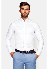 Lancerto - Koszula Biała Fiore. Okazja: na co dzień. Kolor: biały. Materiał: bawełna, len, tkanina, wełna. Wzór: haft, ze splotem. Sezon: lato. Styl: wizytowy, elegancki, casual
