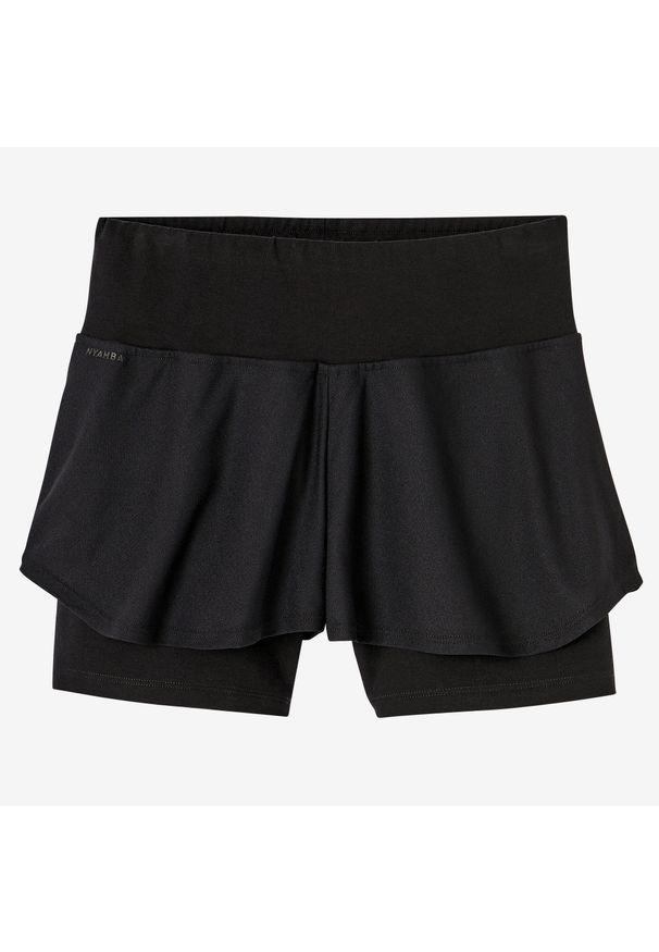 NYAMBA - Spodenki fitness 2 w 1. Kolor: czarny. Materiał: poliester, elastan, bawełna, materiał. Długość: krótkie. Sport: fitness