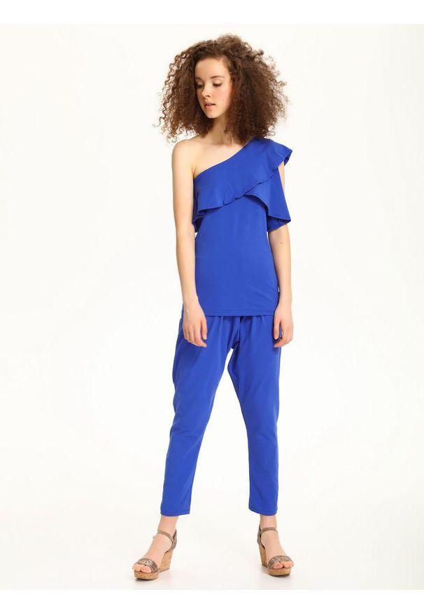 Niebieska bluzka TROLL na co dzień, bez rękawów, na lato, z asymetrycznym kołnierzem