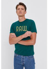 G-Star RAW - G-Star Raw - T-shirt bawełniany. Kolor: zielony. Materiał: bawełna. Wzór: nadruk
