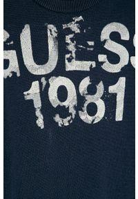 Niebieski sweter Guess Jeans z aplikacjami, casualowy, na co dzień