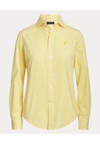 Ralph Lauren - RALPH LAUREN - Koszula w paski. Okazja: na co dzień. Typ kołnierza: polo. Kolor: biały. Materiał: bawełna, prążkowany. Długość rękawa: długi rękaw. Długość: długie. Wzór: paski. Styl: casual, klasyczny, elegancki