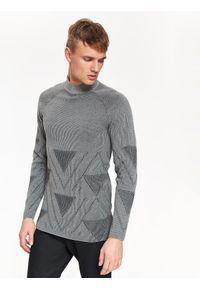Szary sweter TOP SECRET z golfem, w geometryczne wzory, casualowy