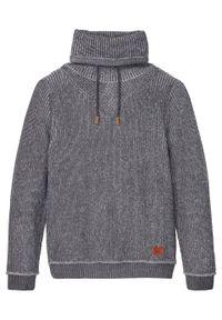 Sweter z golfem bonprix szary łupkowy. Typ kołnierza: golf. Kolor: szary. Materiał: akryl, materiał, bawełna. Wzór: aplikacja