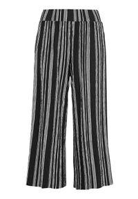 Cellbes Spodnie culotte z gniecionego dżerseju Czarny w paski female czarny/ze wzorem 46/48. Kolor: czarny. Materiał: jersey. Wzór: paski