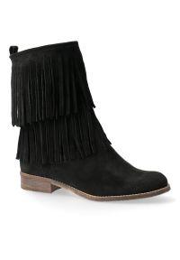 Czarne botki kowbojki Arturo Vicci eleganckie, na niskim obcasie, na obcasie