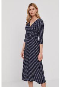 Lauren Ralph Lauren - Sukienka. Kolor: niebieski. Materiał: dzianina. Typ sukienki: rozkloszowane