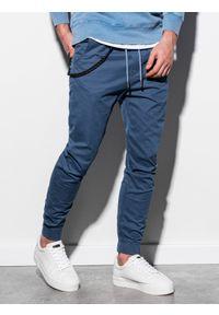 Niebieskie spodnie Ombre Clothing klasyczne, na co dzień, z aplikacjami