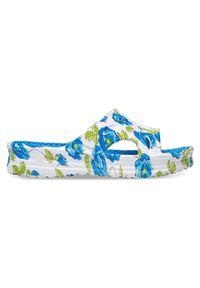 LANO - Klapki damskie basenowe Lano KL-3-1325-1 Niebieskie. Okazja: na plażę. Kolor: niebieski. Materiał: guma. Wzór: kwiaty. Sezon: lato. Obcas: na obcasie. Wysokość obcasa: średni, niski