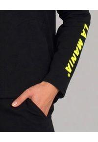 LA MANIA - Bluza z kapturem Friso. Typ kołnierza: kaptur. Kolor: czarny. Materiał: dresówka, bawełna, polar. Wzór: aplikacja. Styl: elegancki