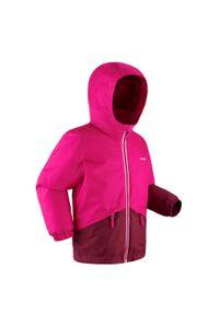 WEDZE - Kurtka narciarska 100 dla dzieci. Kolor: wielokolorowy, różowy, fioletowy. Materiał: polar, materiał. Sport: narciarstwo