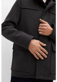 Szary płaszcz Mango Man casualowy, gładki, na co dzień, z kapturem
